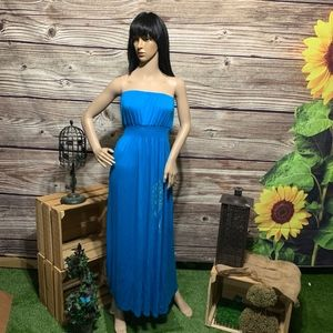 Cute Strapless Blue Summer Dress Size Extra Large